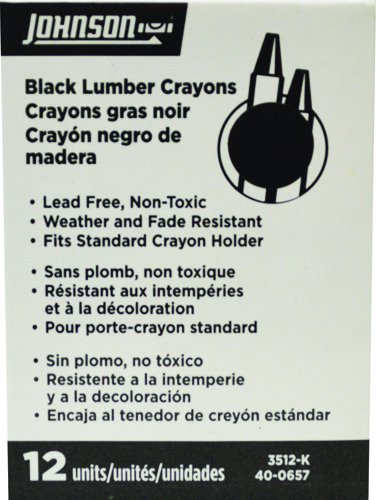 Johnson Level 3512-K Black Lumber Crayon - 12 - Box