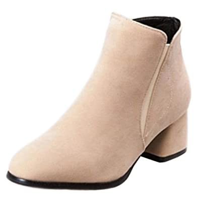 a17233a070e4d Amazon.com | Onewus Women Trend All Match Plus Size & Small Size Ankle  Booties Block Heel Zip Boots | Ankle & Bootie