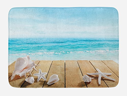 Ambesonne Seashells Bath Mat, Wooden Boardwald with Seashells Sunshine Vacations Beach Theme, Plush Bathroom Decor Mat with Non Slip Backing, 29.5