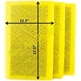 StratosAire Air Cleaner Replacement Filter Pads 24x30 Refills (3 Pack) YELLOW