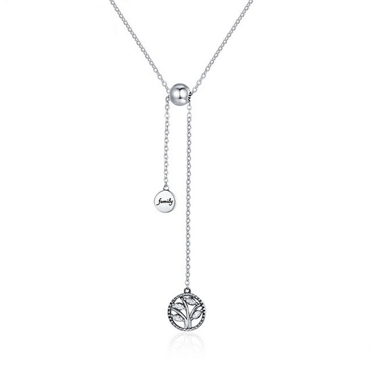CS-DB Pendants Initial Letter Mom Silver Necklaces