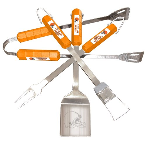 (NFL Cleveland Browns 4-Piece Barbecue Set)