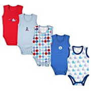 5-Pack Lightweight Sleeveless Bodysuits in Blue, 24 months