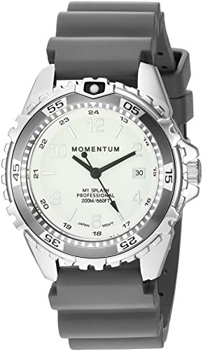 Momentum Women's Quartz Stainless Steel and Rubber Diving Watch, Color:Grey (Model: 1M-DN11LG1G) (Momentum Watch Dive)