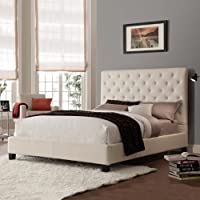 Queen Size Contemporary Platform Bed with Beige Linen Fabric Headboard