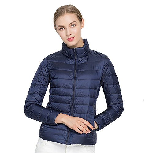 Jackcsale Women's Stand Collar Packable Ultra Light Down Jacket Coat Puffer