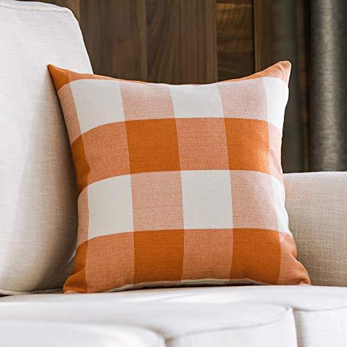 MIULEE Decorative Classic Retro Checkers Plaids Throw Pillow Covers Cotton Linen Soft Soild Pillow Case Orange Cushion Case for Sofa Bedroom Car 24 x 24 Inch 60 x 60 cm