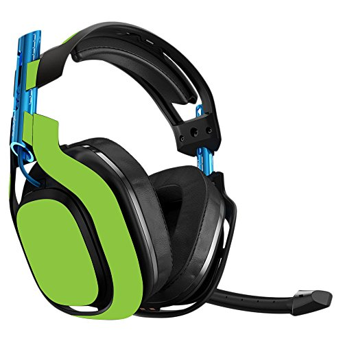 MightySkins Skin Compatible with Astro A50 Gaming Headset - Solid Lime Green   Protective, Durable, and Unique Vinyl Decal wrap Cover   Easy to Apply, Remove, and Change Styles   - Lime Green Headset