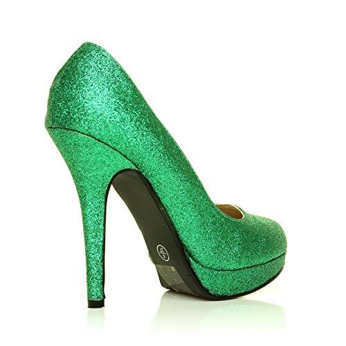 Eve Green Glitter Stiletto High Heel Platform Court Shoes kj4WMM6Q