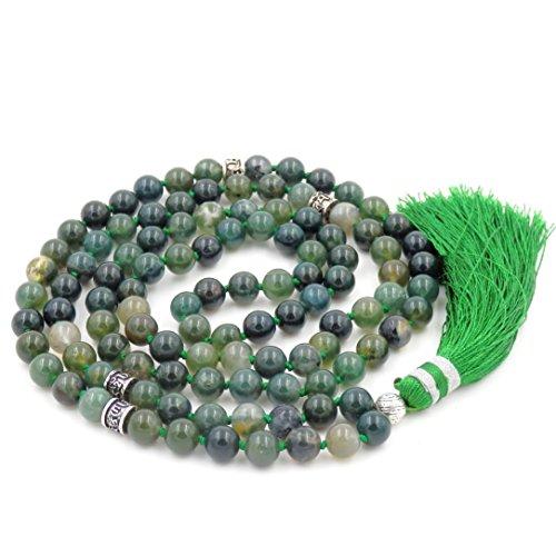 Mala Beads Necklace, Mala Bracelet, Buddhist Prayer Beads Necklace, Tassel Necklace (Moss -