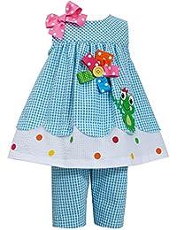 Baby Girls 3M-24M Button Flower Frog Seersucker Top/Capri Pants Set