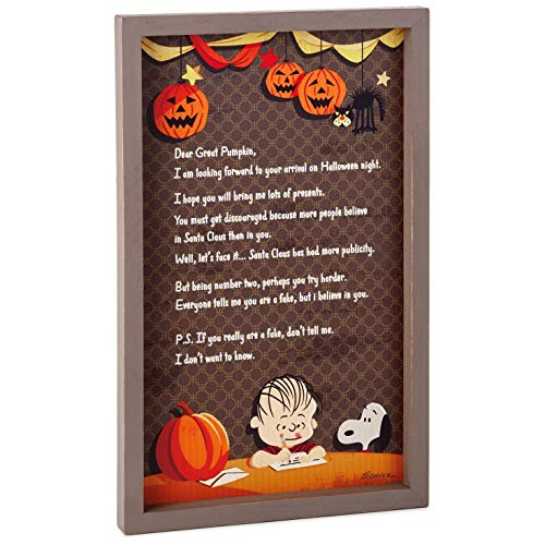Hallmark Peanuts Linus Great Pumpkin Rustic Wood Sign, 9.5x15 Plaques & Signs Movies & TV -