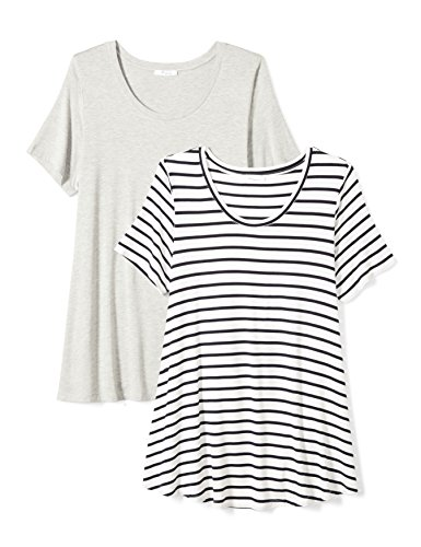 Daily Ritual Women's Plus Size Jersey Short-Sleeve Scoop Neck Swing T-Shirt, 2-Pack, 5X, Light Heather Grey/Navy and White Stripe