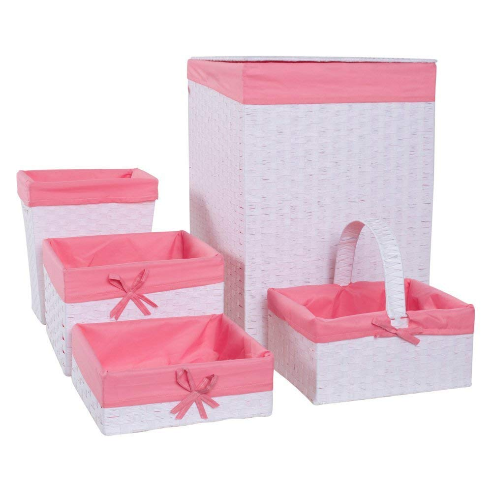Redmon 5-Piece Hamper Set, White/Pink by Redmon