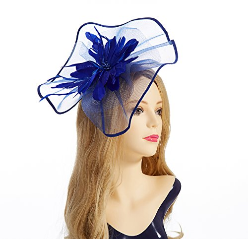 Fascinator Hat,Aiskki Fascinator Headband Feather Mesh Net Hat With Hairband,Tea Party Headwear,Flower Derby Hat with Clip,Kentucky Derby Hats for Women(Blue) by Aiskki (Image #2)