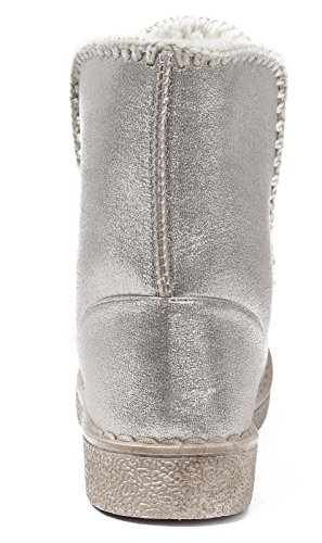 Foderato Pelliccia Tacco di Stivali Tonda Basso AgeeMi Shoes Donna On Slip Oro Punta xUwcqv8pY