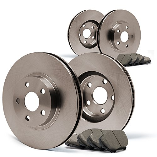 Max Brakes Front /& Rear Premium Brake Kit OE Series Rotors + Ceramic Pads Fits: 2003 03 Chevy Silverado 1500 2WD//4WD Models w// 6 Lugs Rotors /& Single Piston Rear Calipers KT012943