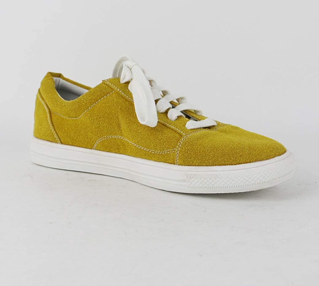 T-JULY Women Flats Lace Up Casual Shoes Spring Espadrilles Soft Bottom Shoes Sneakers Flat White Yellow