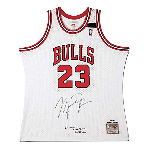 Michael Jordan Autographed & Embroidered in Memory of Sheri Berto 1992 Mitchell & Ness White Jersey -L123