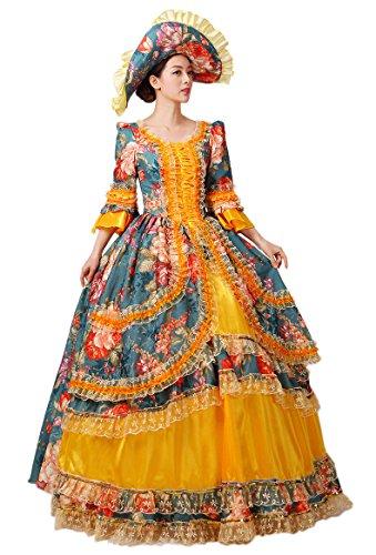 Zukzi Women's Gorgeous Retro Court Dress Costume Beauty Princess Dresses, US 4 (Colonial Gown Costume)