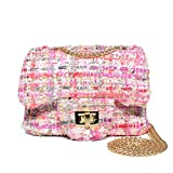 CMK Trendy Kids Glitter Toddler Purse for Girls Sparkly Quilted Little Girl Purses (Fancy Pink)