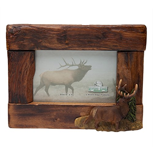 Elk Accent - River's Edge Genuine Firwood Horizontal 4 x 6 Picture Frame with Hand Painted Poly Resin Elk Accent