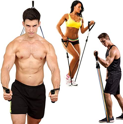 Grentay 11 Pack Resistance Bands Set, Exercise Resistance Bands for Men and Women with Handles Door Anchor Ankle Straps,Resistance Loop Band and Workout Guide for Home Workouts, Including 5 Stackable 7