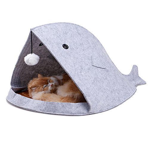 GOKKO Creative Felt Pet Dog Cat Doggy Puppy Bed Soft House Kennel Warm Cushion Handbag (Grey, Shark) Review