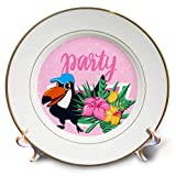 3dRose Spiritual Awakenings Cartoon Animals - Parrot and Tropical Flowers Ready to Join The Party - 8 inch Porcelain Plate (cp_294322_1)