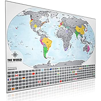 Amazon landmass scratch off world map poster original travel xl scratch off world map print 24x36 made in the usa platinum travel tracker map from landmass scratch off where youve traveled gumiabroncs Choice Image