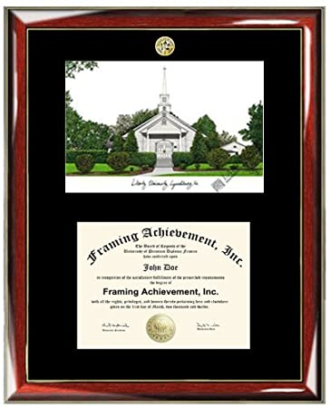 liberty university lithograph matted diploma frame choice of college major gold seal insignia premium