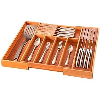 Amazon.com: Expandable Bamboo Kitchen Storage Organizer, Cutlery ...