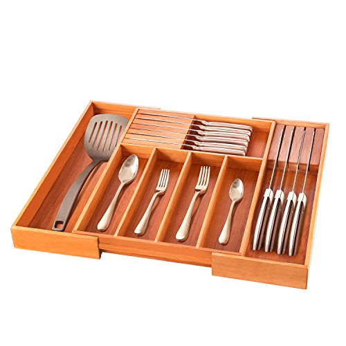 Expandable Drawer Organizer Keeps Silverware Organized, 100% Natural Bamboo Flatware Drawer Dividers Organizes Utensils for a Clutter-Free Kitchen, Elegant Cutlery Holder. By (Block Cutlery Set Ships)