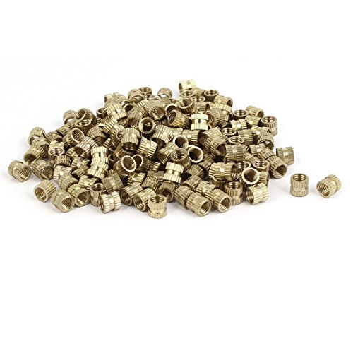 uxcell M5 x6mm Female Thread Brass Knurled Threaded Round Insert Embedded Nuts 100PCS