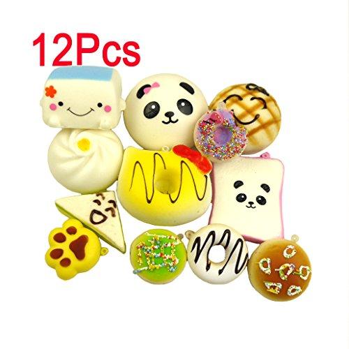 LEMO 12PCS Kawaii Soft Foods Panda Bun Toasts Multi Donuts Cell Gift Phone Chain TO379 by Lemo