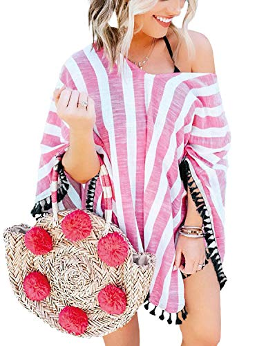 (PINKMSTYLE Womens Summer V Neck Tassel Chiffon Striped Bathing Suit Poncho Swimsuit Bikini Coverup Pink One Size)