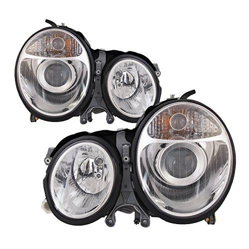 Mercedes Headlights Projector (Headlights Depot Replacement for Mercedes-Benz E320 Chrome Projector Halogen-Type Headlights Set New)