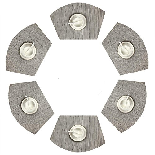 SHACOS Round Table Placemats Set of 6 Wedge Place Mat PVC Heat Resistant Kitchen Dining Table Mats Washable (6,Silver Grey)