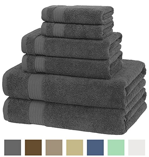 American Veteran Towel, 100% Cotton 6 Piece Turkish Bath, Hand and Face Towels, Charcoal Grey  (Champagne Color Paper Plates)