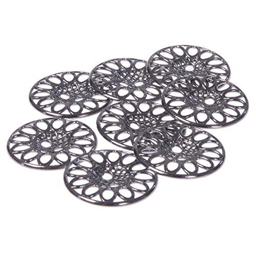 Mibo Zinc Die Casting Metal Button Perforated Filigree Design 2 Hole 36 Line Gunmetal (8pc)