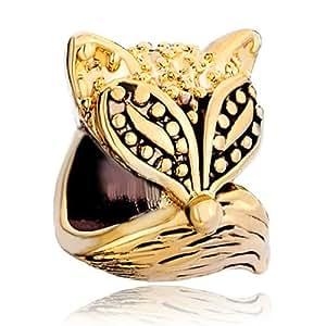 Amazon Com Pugster Cute Fox Golden Charm Bead Fits
