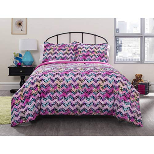 (7 PIece Girls Cheetah Chevron Pattern Comforter Sheets Set Queen Set, Abstract Purple Blue Yellow, Bedding, Stylish African Safari Zoo Animal Zig Zag Stripes Design)