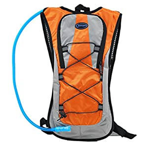 Hydration Pack With 2L Backpack BPA Free Water Bladder, Fits Men, Women, Youth and Kids, Used For Hiking, Running, Cycling, and Skiing - Orange Color