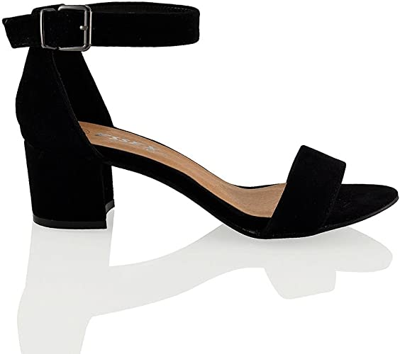 closed toe strappy low block heel sandals