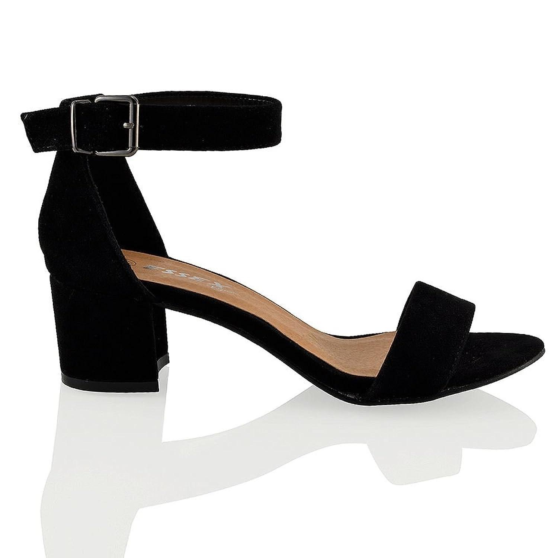 804747b129f Womens Block Low Heel PEEP Toe Ladies Buckle Ankle Strap Sandals Shoes Size  3-8
