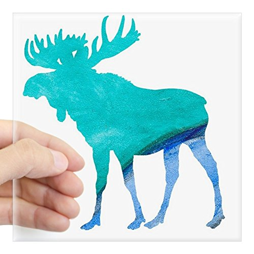 CafePress Turquoise and Blue Moose Sticker Square Bumper Sticker Car Decal, 3