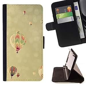 For Samsung Galaxy Core Prime / SM-G360 Case , Viñeta Hot Air Balloon cielo amarillo- la tarjeta de Crédito Slots PU Funda de cuero Monedero caso cubierta de piel