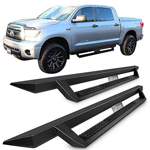 Running Boards Fits 2007-2018 Toyota Tundra Crew Max | IKON V1 Style Black Steel Side Step Bar Nerf Bar by IKON MOTORSPORTS
