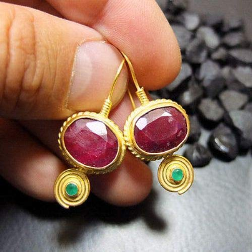 Ancient Design Handmade Hammered Ruby Earring With Emerald 22K Gold Over 925K Sterling Silver ()