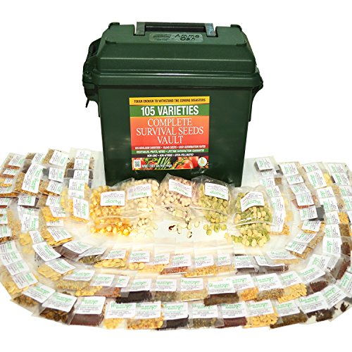 ed Vault 25 Year Storage Life. Fruit Herb and Vegetable Heirloom Seeds. 85% Germination Success For Doomsday Preparedness Peace of Mind. Emergency Supplies in a .30 Cal Ammo Box. ()